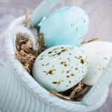 3 естественных голубых пасхального яйца в корзине Стоковая Фотография RF