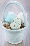 3 естественных голубых пасхального яйца в корзине Стоковые Фото