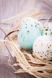 3 естественных голубых пасхального яйца в корзине Стоковое Изображение RF
