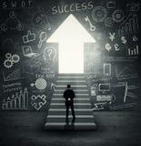 лестницы бизнесмена вверх гуляя Стоковое Изображение RF