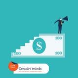 100 лестницы и человек долларовой банкноты с мегафоном Стоковые Изображения RF