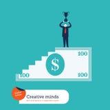 100 лестницы и человек долларовой банкноты с трофеем Стоковая Фотография