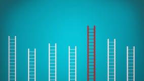 лестницы 3D на голубой стене крытой Стоковая Фотография