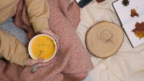 Ест вегетарианский суп с горячим кремом осенней тыквы акции видеоматериалы