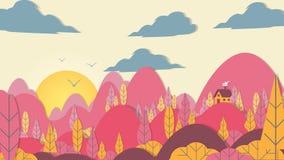 лес Applique стиля Бумаг-отрезка с небольшим домом - вектором Illust иллюстрация штока