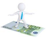 летание белого человек 3d на счете евро иллюстрация вектора