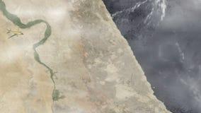 летание самолета от Каира к Джидде сток-видео