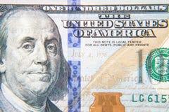 100 деталей примечания доллара Стоковая Фотография