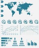детализируйте иллюстрацию infographic Графики карты и данных по мира Стоковые Изображения RF