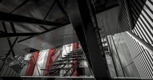 деталь 3d. Современный промышленный интерьер, лестницы, чистый космос внутри внутри Стоковое Изображение
