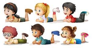 6 детей иллюстрация вектора