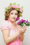 15 детенышей женщины Изображение весны Стоковое Фото