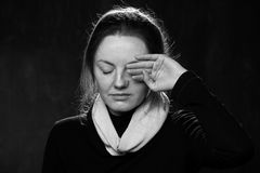 детеныши женщины портрета унылые Стоковые Фото