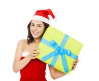 детеныши женщины подарка рождества коробки счастливые Стоковые Фото
