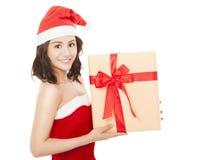 детеныши женщины подарка рождества коробки счастливые Стоковые Изображения