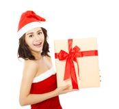 детеныши женщины подарка рождества коробки счастливые Стоковое Изображение RF