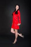 детеныши женщины платья красные стоковое фото rf