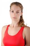 детеныши женщины стены пригодности предпосылки серые Портрет спорт Стоковые Изображения