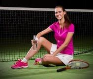 детеныши женщины тенниса игрока Стоковое Фото