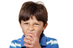 детеныши мальчика зевая Стоковые Фото