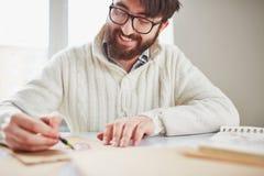 детеныши портрета человека чертежа белые Стоковые Фотографии RF