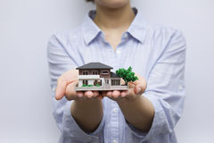 детеныши реальной женщины модели дома удерживания имущества принципиальной схемы Стоковое Изображение RF