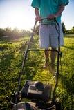 детеныши человека травы кося Стоковые Фотографии RF