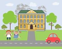 дети идут школа к Стоковые Фото