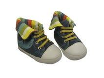 дети предпосылки изолировали ботинки s белые Стоковое Изображение RF