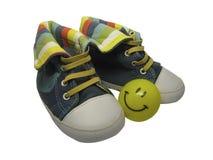 дети предпосылки изолировали ботинки s белые Стоковые Фото