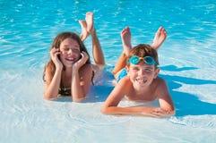 дети 2 пляжа Стоковые Фото