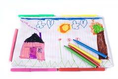дети рисуя гору дома Стоковые Фотографии RF