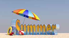 лето иллюстрации 3D на пляже Стоковое Изображение RF