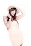 лето красивейшей девушки пола платья сидя стоковое изображение