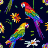 лето тропическое Безшовная картина вектора с попугаями и цветками бесплатная иллюстрация