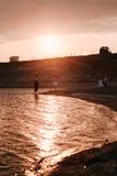 3 дет бежать вдоль пляжа Стоковые Фото
