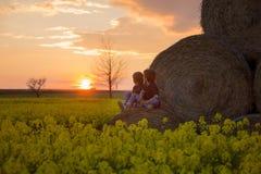 2 дет, братья мальчика в рапсе семени масличной культуры field, сидящ на a Стоковое фото RF