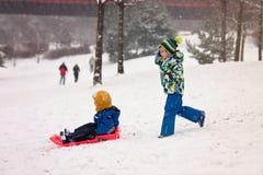 2 дет, братья мальчика, сползая с bob в снеге, wintertime Стоковые Изображения