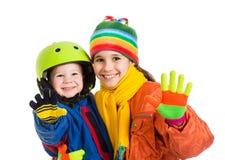 2 дет в одеждах зимы Стоковая Фотография