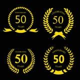 50 лет годовщины подписывают золото лавра Стоковое Изображение RF