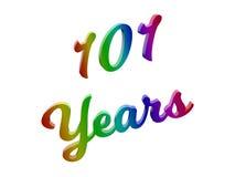 101 лет годовщины, праздника каллиграфического 3D представили иллюстрацию текста покрашенный с градиентом радуги RGB иллюстрация вектора