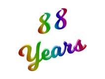 88 лет годовщины, праздника каллиграфического 3D представили иллюстрацию текста покрашенный с градиентом радуги RGB Стоковые Изображения