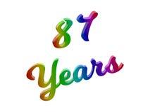 87 лет годовщины, праздника каллиграфического 3D представили иллюстрацию текста покрашенный с градиентом радуги RGB Стоковое фото RF