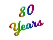 80 лет годовщины, праздника каллиграфического 3D представили иллюстрацию текста покрашенный с градиентом радуги RGB Стоковое Изображение RF