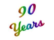 90 лет годовщины, праздника каллиграфического 3D представили иллюстрацию текста покрашенный с градиентом радуги RGB Стоковая Фотография RF