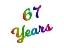 67 лет годовщины, праздника каллиграфического 3D представили иллюстрацию текста покрашенный с градиентом радуги RGB Стоковые Изображения RF