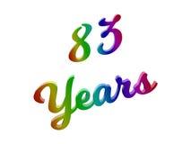 83 лет годовщины, праздника каллиграфического 3D представили иллюстрацию текста покрашенный с градиентом радуги RGB Стоковые Фотографии RF