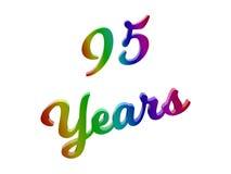 95 лет годовщины, праздника каллиграфического 3D представили иллюстрацию текста покрашенный с градиентом радуги RGB Стоковое Изображение RF