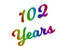 102 лет годовщины, праздника каллиграфического 3D представили иллюстрацию текста покрашенный с градиентом радуги RGB иллюстрация вектора