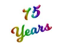 75 лет годовщины, праздника каллиграфического 3D представили иллюстрацию текста покрашенный с градиентом радуги RGB Стоковая Фотография RF